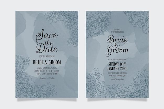 Ręcznie rysowane kwiatowy pozostawia akwarela na zaproszenie na ślub