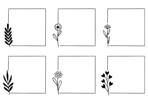 Ręcznie rysowane kwiatowy rama logo rama ślubna szablon karty zaproszenia