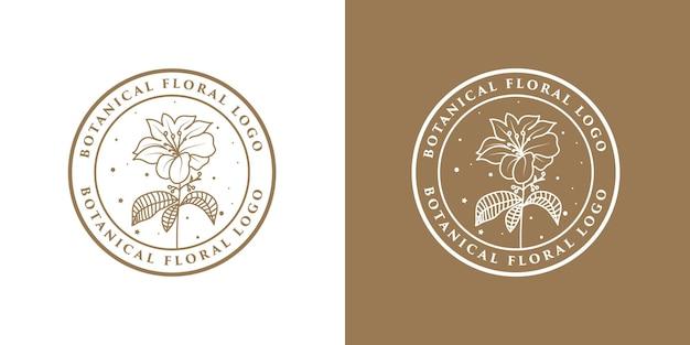 Ręcznie rysowane kwiatowy rama logo.