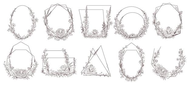 Ręcznie rysowane kwiatowy ramki geometryczne.