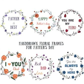 Ręcznie rysowane kwiatowy ramki na dzień ojca