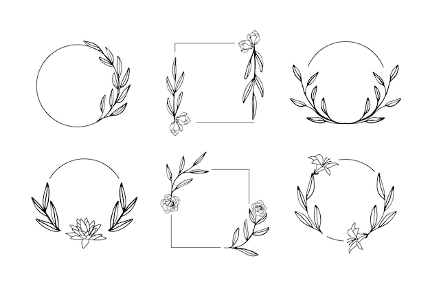 Ręcznie rysowane kwiatowy ramki