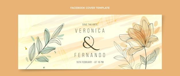 Ręcznie rysowane kwiatowy ślub facebook okładka