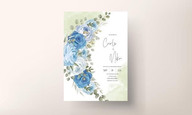 Ręcznie rysowane kwiatowy szablon karty zaproszenie na ślub