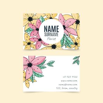 Ręcznie rysowane kwiatowy szablon wizytówki