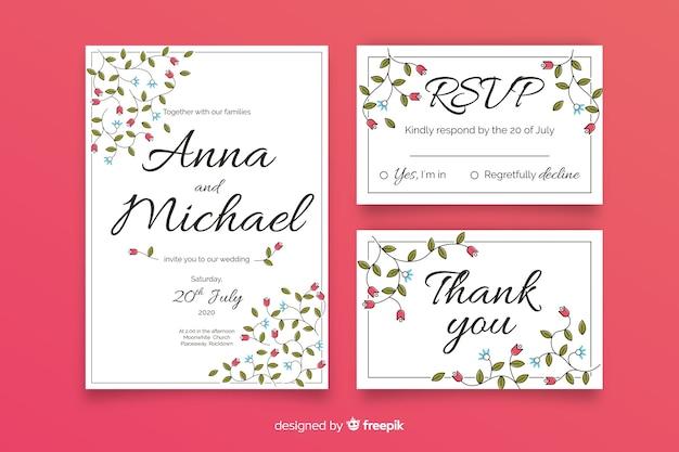 Ręcznie rysowane kwiatowy wesele szablon papeterii