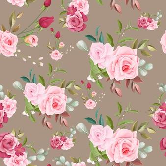 Ręcznie rysowane kwiatowy wzór bez szwu