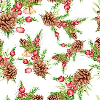 Ręcznie rysowane kwiatowy wzór świąteczny