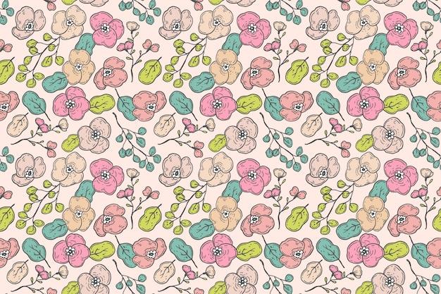 Ręcznie rysowane kwiatowy wzór w odcieniach brzoskwini