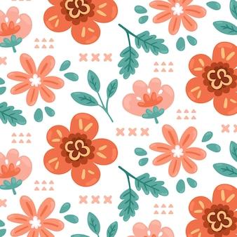 Ręcznie Rysowane Kwiatowy Wzór W Odcieniach Brzoskwini Premium Wektorów