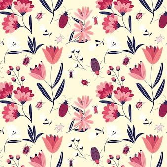 Ręcznie rysowane kwiatowy wzór z owadami