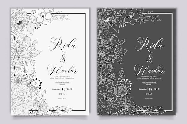 Ręcznie rysowane kwiatowy wzór zaproszenia ślubne