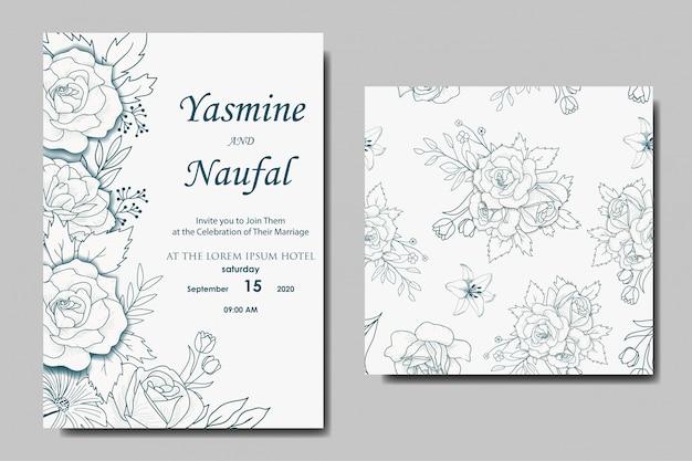 Ręcznie rysowane kwiatowy wzór zaproszenia