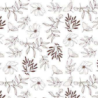 Ręcznie rysowane kwiatowy wzór