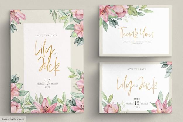 Ręcznie rysowane kwiatowy zaproszenia ślubne zestaw kart