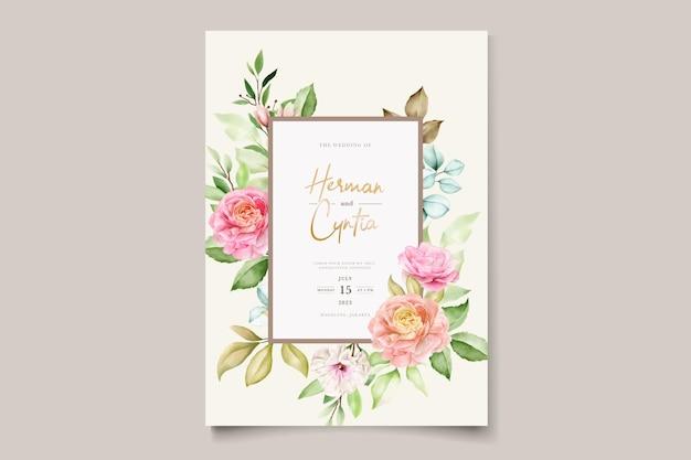 Ręcznie rysowane kwiatowy zaproszenia ślubne