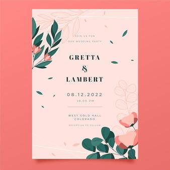 Ręcznie rysowane kwiatowy zaproszenie na ślub szablon