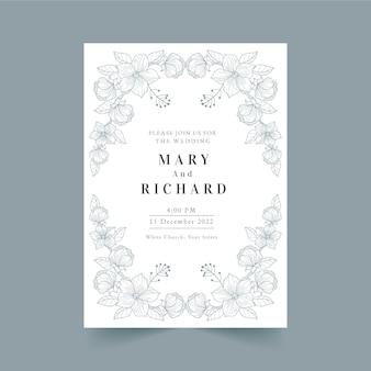 Ręcznie rysowane kwiatowy zaproszenie na ślub