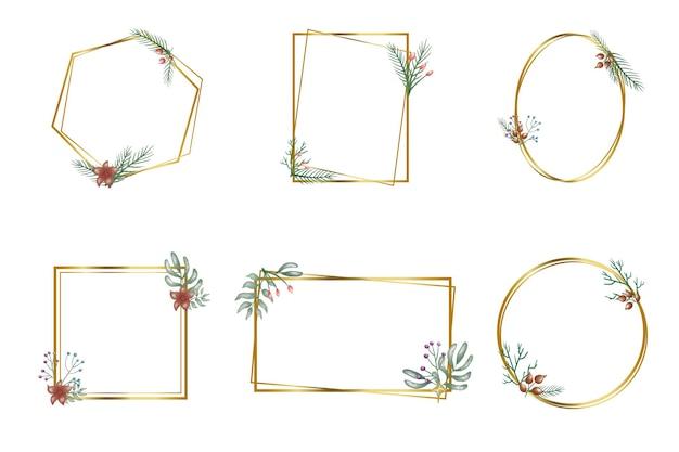 Ręcznie rysowane kwiatowy zestaw geometrycznych ramek