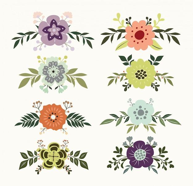 Ręcznie rysowane kwiatowy zestaw ozdobny