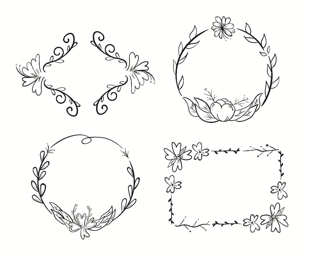 Ręcznie rysowane kwiatowy zestaw ramek