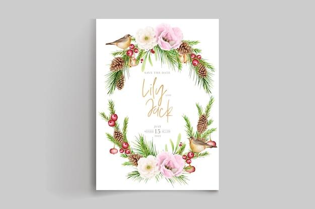 Ręcznie rysowane kwiatowy zestaw tła bożego narodzenia