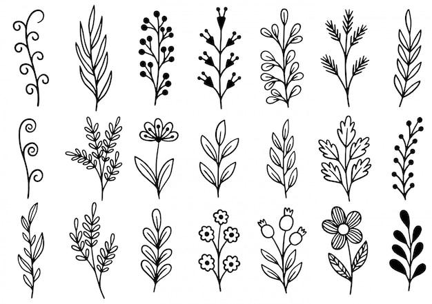 Ręcznie rysowane kwiaty doodle