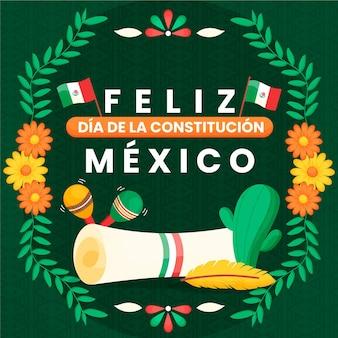 Ręcznie rysowane kwiaty dzień konstytucji meksyku