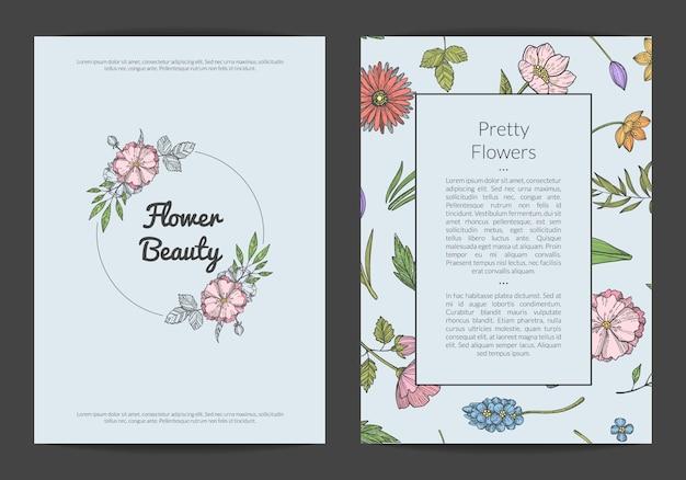 Ręcznie rysowane kwiaty karty lub ulotki