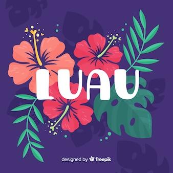 Ręcznie rysowane kwiaty luau tło