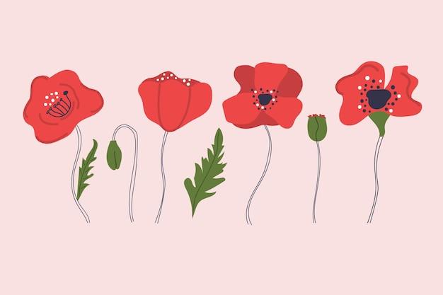 Ręcznie rysowane kwiaty maku nowoczesne mieszkanie na białym tle ilustracja