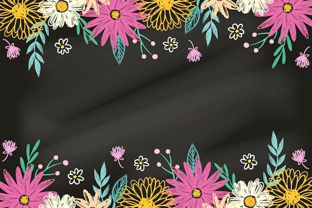 Ręcznie rysowane kwiaty na tablica tło