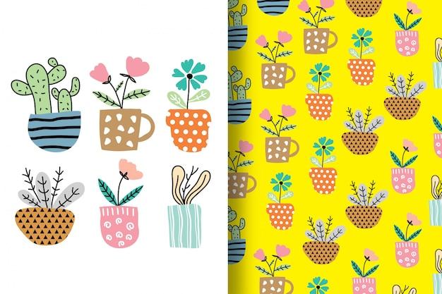 Ręcznie rysowane kwiaty są ułożone zabawnie z wzorem