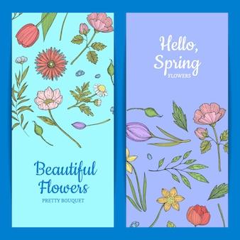 Ręcznie rysowane kwiaty szablony banner www ilustracja