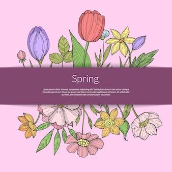 Ręcznie rysowane kwiaty w bukiecie pod wstążką