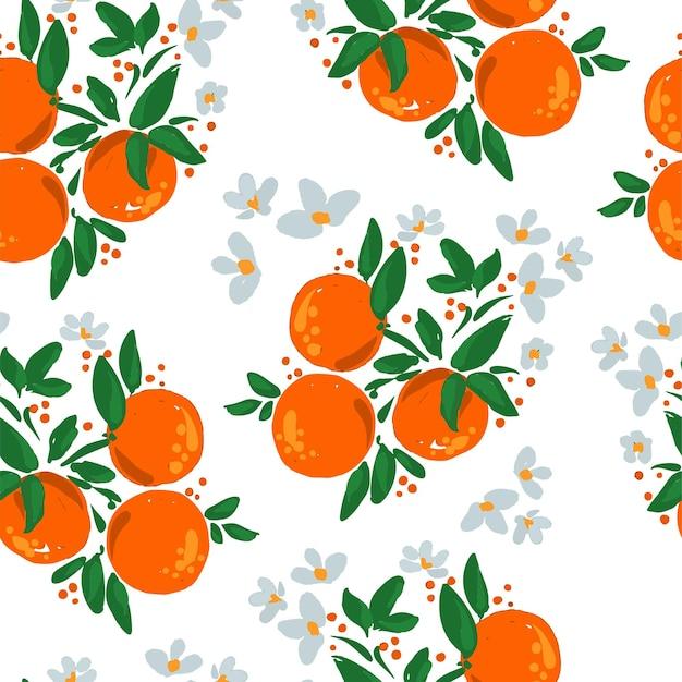 Ręcznie rysowane kwitnące pomarańczowe owoce z liśćmi i kwiatami ilustracja wektorowa bez szwu deseń.