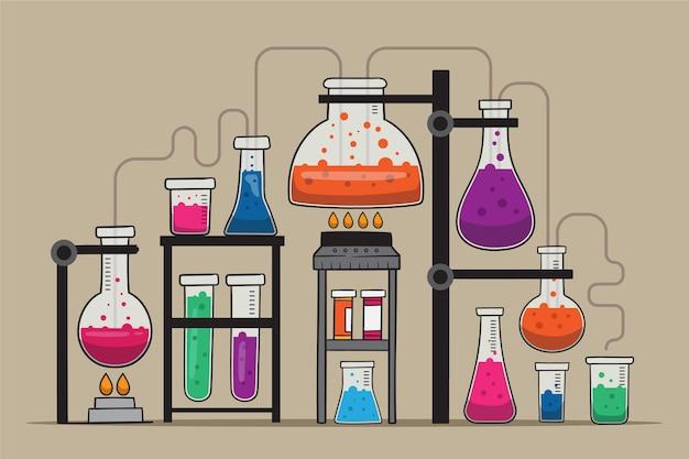 Ręcznie rysowane laboratorium naukowe