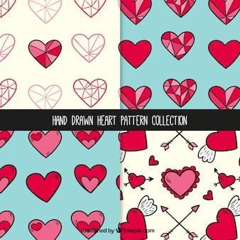 Ręcznie rysowane ładne wzory serca