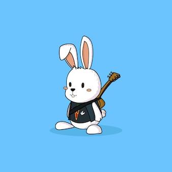 Ręcznie rysowane ładny biały królik gitarzysta.