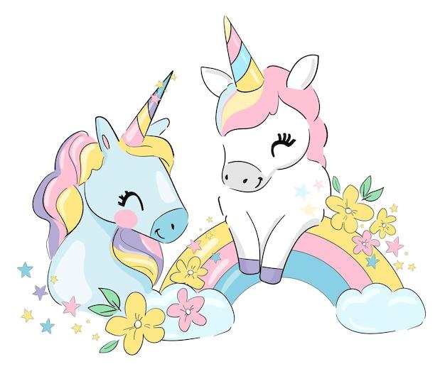 Ręcznie rysowane ładny jednorożca i kwiaty magiczne ilustracji wektorowych. dziecinny obraz z nadrukiem trendu!