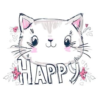 Ręcznie rysowane ładny kot szkic ilustracji wektorowych