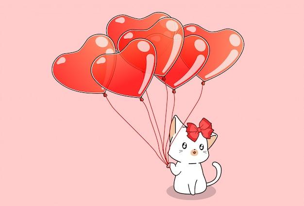 Ręcznie rysowane ładny kot trzyma balony serce na różowo