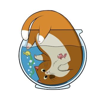 Ręcznie rysowane ładny kot w akwarium