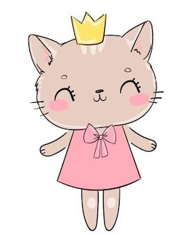 Ręcznie rysowane ładny kot z koroną, szkic ilustracji