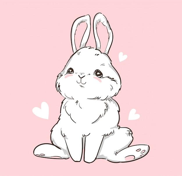 Ręcznie rysowane ładny króliczek i serce na różowym tle. królik z nadrukiem. dziecięcy nadruk na koszulce. ilustracja