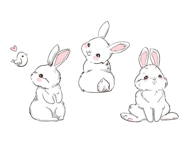 Ręcznie rysowane ładny króliczek na białym tle. królik z nadrukiem. dziecięcy nadruk na koszulce.