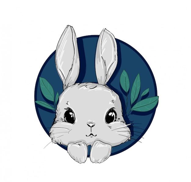Ręcznie rysowane ładny króliczek na białym tle