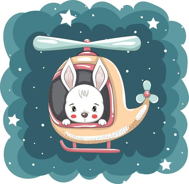 Ręcznie rysowane ładny królik na helikopter wektor