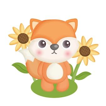Ręcznie rysowane ładny lis i słonecznik.