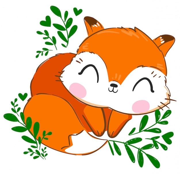 Ręcznie rysowane ładny lis ilustracja